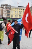 This man, selling flags at a rally