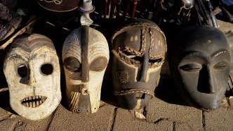 African masks for sale at the local market